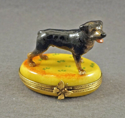 New Hand Painted French Limoges Trinket Box Rottweiler Dog On Yellow Box