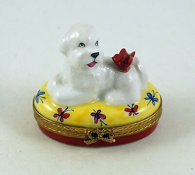 New French Limoges Box Bichon Frise Dog Puppy With Butterfly On Butterfly Box