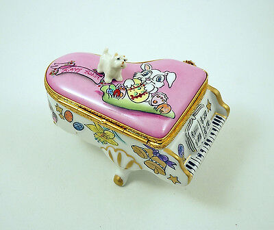 New French Limoges Trinket Box Westie Dog Puppy On Grand Piano W Easter Bunny