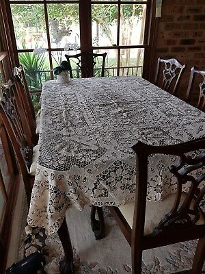 Antique Ecru Reticella Filet Point De Venise Venice Needle Lace TableCloth Mint