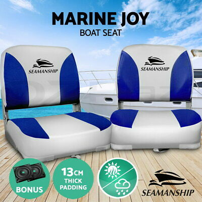 2X Folding Boat Seats Seat Marine Seating Set All Weather Swivels B&G