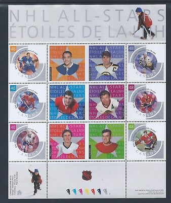 Canada NHL All Stars - 4 #1971 Full Pane MNH ** Free Shipping **