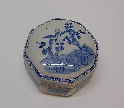 Trinket Box Birds Cherry Blossom Tree Blue and White Porcelain Chinese Vintage