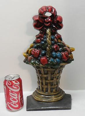Cast Iron Door Stop Large Fruit Basket with Red Bow Vintage