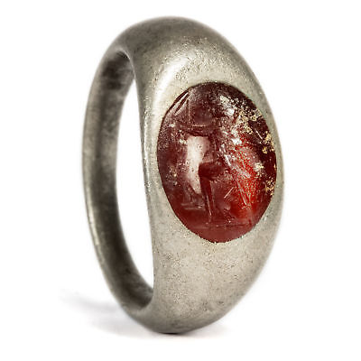 Roman Seal Ring 2 3. jhdts N. chr. Carneo intaglio diana in Silver
