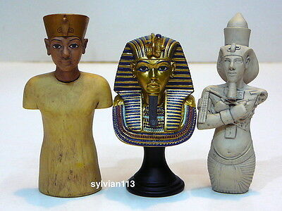 UHA Collect Club Ancient Egyptian Miniature Figure Lot of 3 Pharoah Tutankhamun