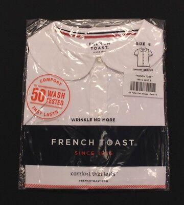 French Toast Girl's 1461G Short Sleeve Button Down Blouse BF5 White Size 8 NWT