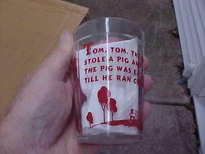 Vintage 4 inch Nursery Rhyme Glass Tumbler Hazel Atlas Tom Tom Piper's Son NICE