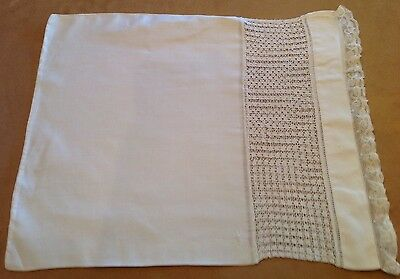 Antique Vintage Off White Baby Pillowcase With Lace And Cut Work Lace Design