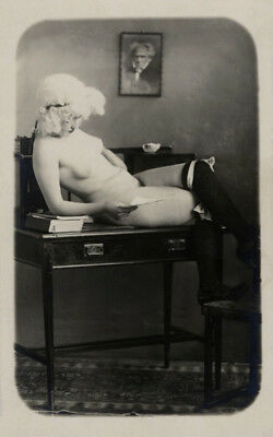 Rare Nude French RPPC Real Photo Postcard Model Reading Letter w/Stockings 1910s
