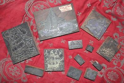 Antique Printing Printer's Blocks Type Plates Ships Boats Lighthouse Nautical