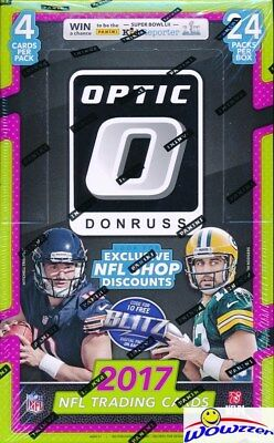 2017 Donruss Optic Football MASSIVE Factory Sealed 24 Pack Retail Box! Loaded!