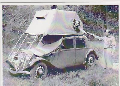 carte postale - CITROEN TRACTION - CAMPING - TENTE