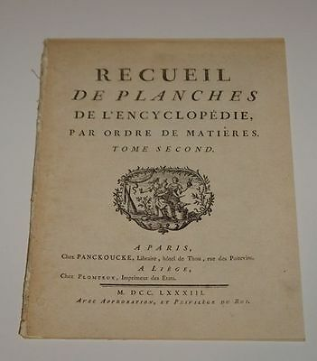 RECUEIL DE PLANCHES L'ENCYCLOPEDIE 1783 1st Press V2 Engravings ILLUSTRATED