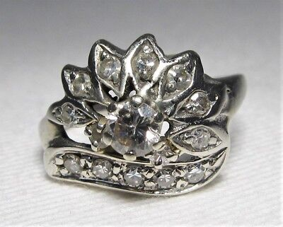 14K White Gold .47tcw Vintage Art Deco Ladies Diamond Cluster Ring Sz 4.75 C1645
