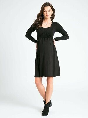 New JoJo Maman Bebe Maternity and Nursing, Black X Front Wrap Dress Small Sz 4 6