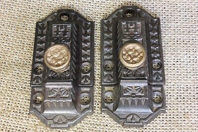 """2 Cabinet catches Cupboard Latches weave brass knob old rustic 3"""" vintage"""