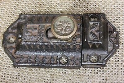 "Cabinet catch Cupboard brass knob old Latch antique rustic 3"" vintage cast iron"