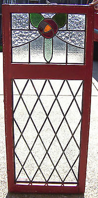 19 x 44 Vtg Old Leaded Stained Glass DOUBLE DIAMOND ROSE Window Antique 49 Panes