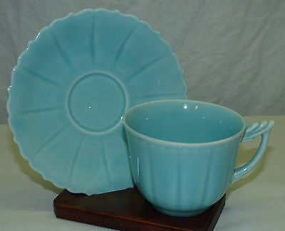 Old W.S. George Elmhurst Pastel Turquise Green Cup & Saucer Made in USA Set C