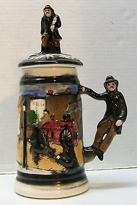 Firefighter Stein Man Rescuing Child on Lid Man as Handle Marked 1428 Vintage