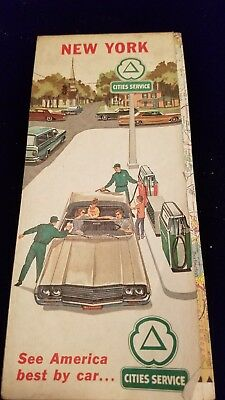 Mid 1960 's Cities Services Gasoline  New York Road Map