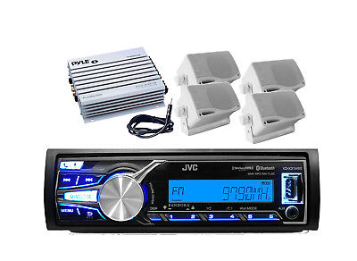 New Marine KD-X31MDS Bluetooth AUX USB MP3 Radio + 400W Amp 4 Speakers + Antenna