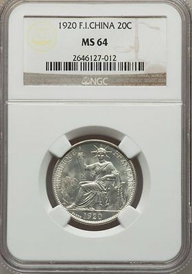 French Indochina 20 Cents 1920(s) San Francisco Mint NGC MS 64