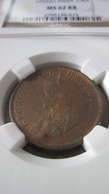 India British 1/4 Anna 1935(C) NGC MS 62 RB