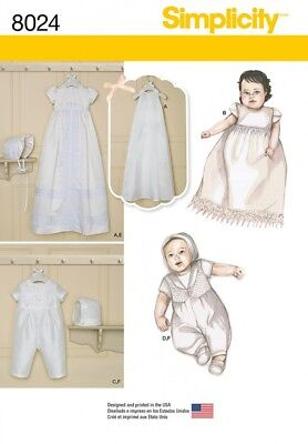 Simplicity Baby Sewing Pattern 8024 Christening Gown & One Piece Suit (Si...