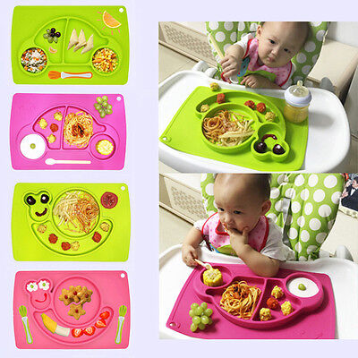 Kids One-piece Silicone Mat Table Baby Food Dish Tray Placemat Plate Bowl No BPA