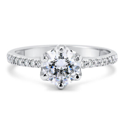 1 1/2 Ct Round Cut Si1 Diamond Solitaire Engagement Ring 18K White Gold
