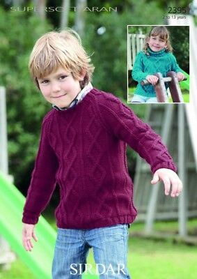 Sirdar Childrens Sweaters Supersoft Knitting Pattern 2395  Aran (Sirdar-2395)