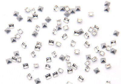 Whole Sales 720Pcs Clear Crystal Glass Square Point Back Nail Art