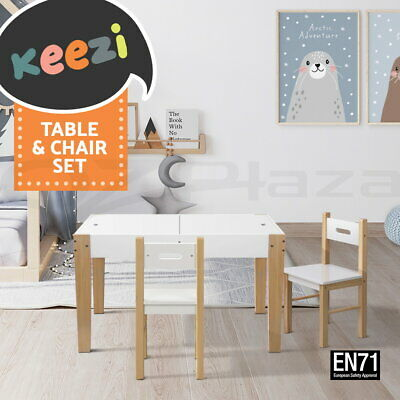 Kids Table and Chair Set Study Storage Desk Dining Children Chalkboard Game