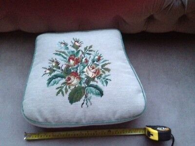 Vintage Handmade Tapestry Cushion/chair Pad In Classic Floral Style Rrp: £80