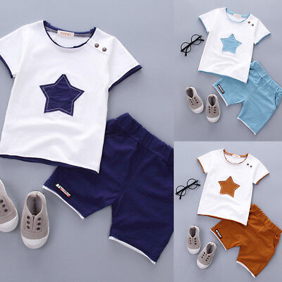 Newborn Infant Baby Boy Summer Outfits Cotton Star T-Shirt Top Shorts Kids Sets