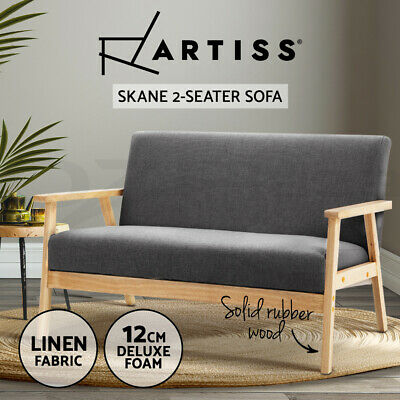 Replica SKANE 2 Seater Armchair/Sofa Lounge Wooden Dining Chair Fabric Grey