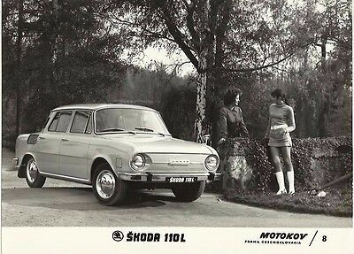 Skoda 100 L 1969 Original Press Photograph Girl in Knitted Mini Dress & Boots