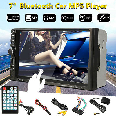 GPS Navigation HD Double 2 DIN Car Stereo MP5 Player Bluetooth Radio In Dash+Cam
