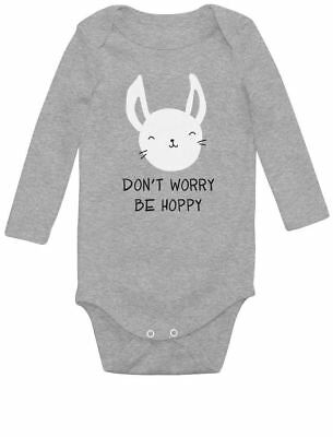 Don't Worry Be Hoppy Adorable Easter Gift For Babies Baby Long Sleeve Bodysuit