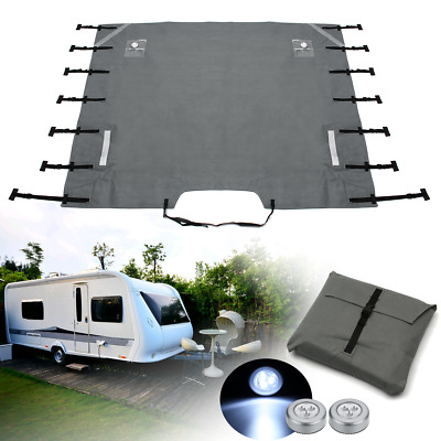 Grey Caravan Front Towing Cover Chip Protection Universal Size Free LED Lights