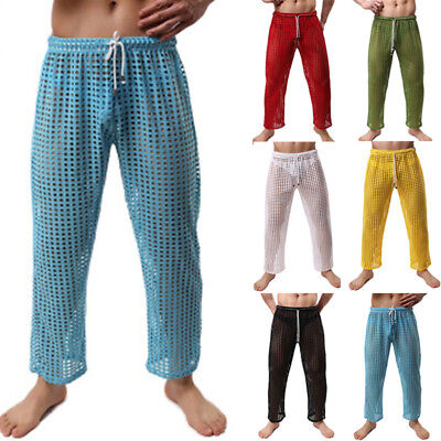 Men Casual Stylish See Through Hollow Out  Fishnet Long Pajama Bottom Trouser