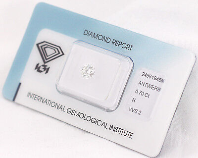 Diamant 0,70ct H VVS2 IGI Zertifikat - Laserscribe and Sealed -
