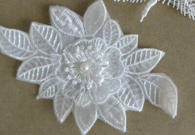 Embroidery Sew On Iron On Flower leaf Transfer Fabric Bag Clothes Applique Craft