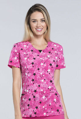 Star You Listening Cherokee Scrubs Infinity Round Neck Top CK609 STRY