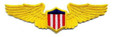 PILOTS WINGS Aviation Aircraft Airplane Yellow Gold Emblem Patch Applique large.