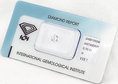 Diamant 0,70ct H VVS1 IGI Zertifikat - Laserscribe and Sealed -