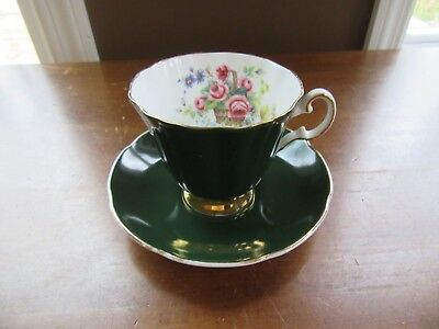 Vintage Royal Grafton English Bone China Tea Cup & Saucer Set Dark Green