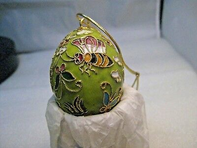 """Cloisonne Champleve Bumble Bee  & Butterfly Egg Ornament  -2"""" Tall, Green/Yellow"""